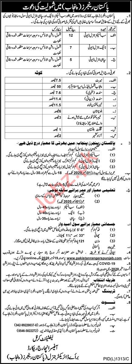 Pakistan Rangers Punjab Jobs 2020 for Sepoy & Sub Inspector