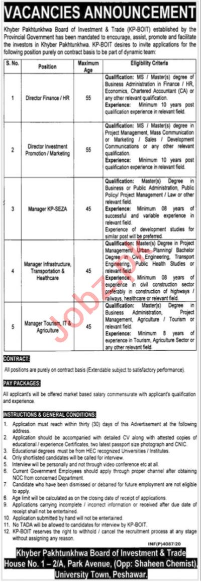 Board of Investment & Trade KP BOIT Peshawar Jobs 2020