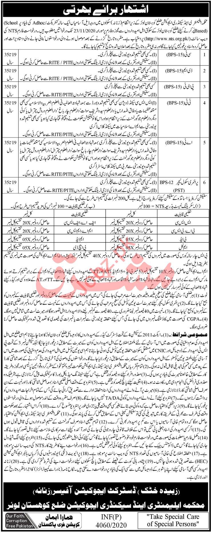 Elementary & Secondary Education Kohistan Lower Jobs 2020
