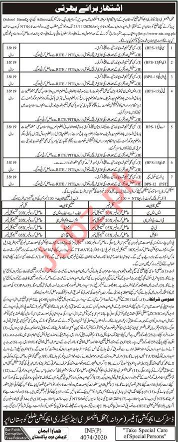 Education Department ESED Kohistan Upper Jobs 2020 Teachers
