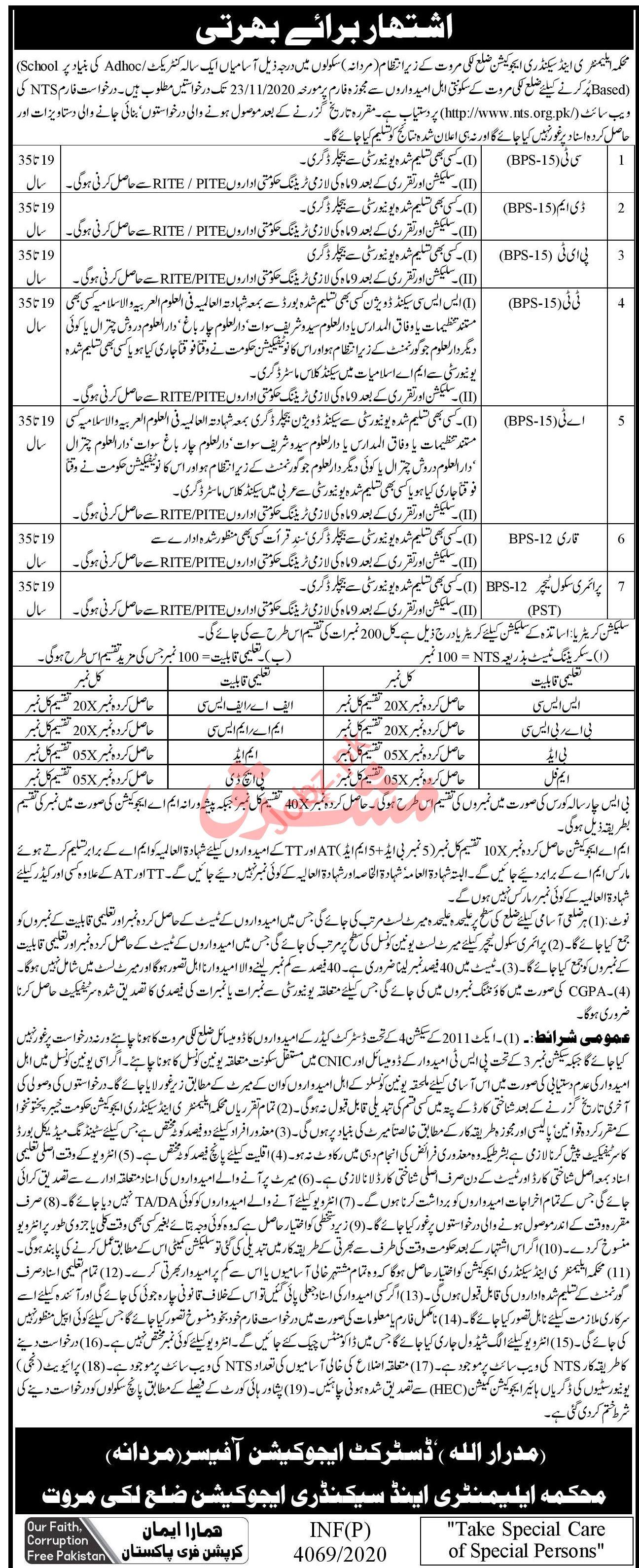 Education Department Female DEO Lakki Marwat Jobs 2020