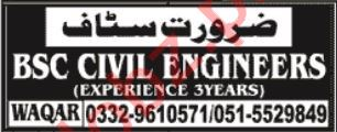 Civil Engineer & Engineer Jobs 2020 in Islamabad