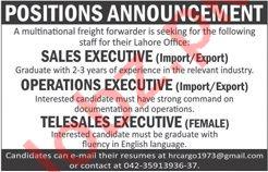 Operations Executive & Female Telesales Executive Jobs 2020