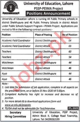 University of Education Lahore Jobs 2020 for Teachers