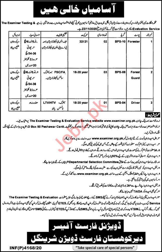 Dir Kohistan Forest Division Sheringal Jobs 2020