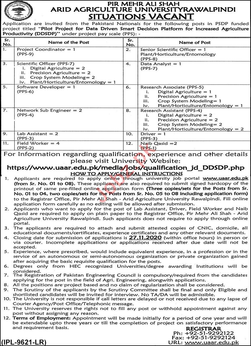 PMS Arid Agriculture University Rawalpindi Jobs 2020