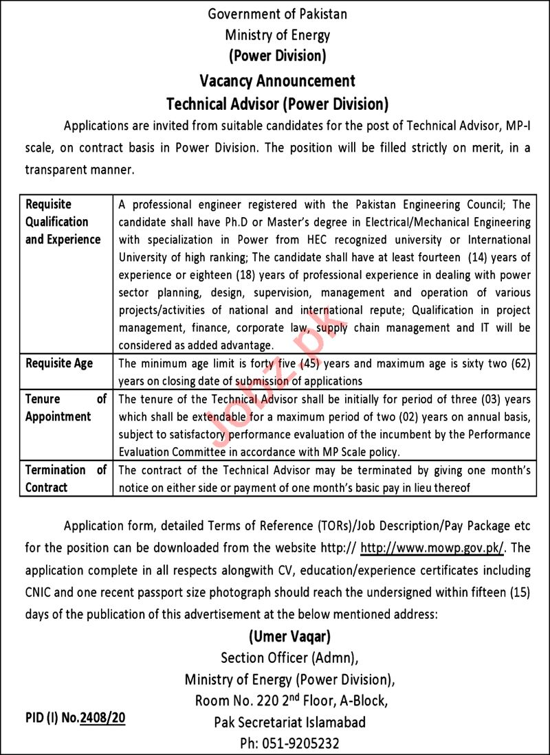 Ministry of Energy Power Division Islamabad Jobs 2020