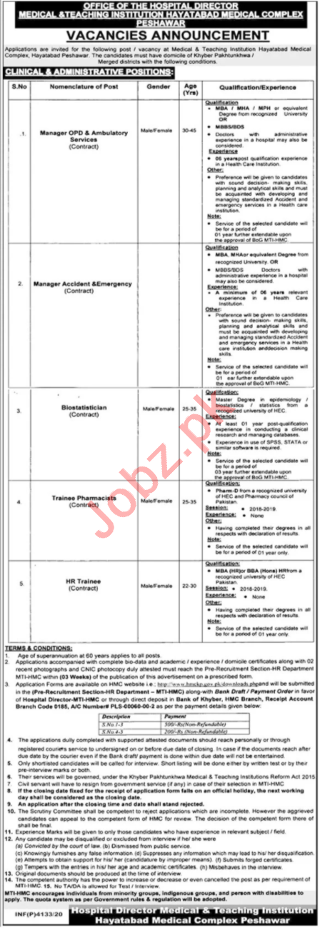 HMC Hayatabad Medical Complex Peshawar Jobs for Managers
