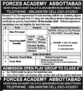 Forces Academy Abbottabad Jobs 2020