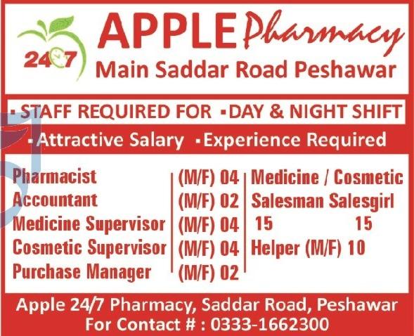 Apple Pharmacy Peshawar Jobs 2020