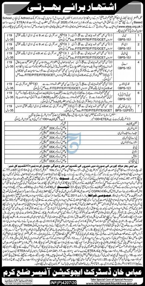 Elementary and Secondary Education Department ETEA Jobs 2020