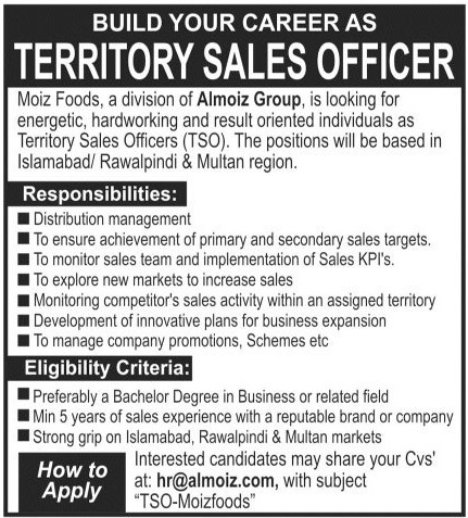 Almoiz Group Jobs 2020 For Territory Sales Officers TSO