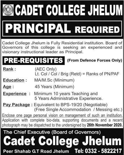 Pakistan Army Cadet College Jhelum Job 2020 For Principal