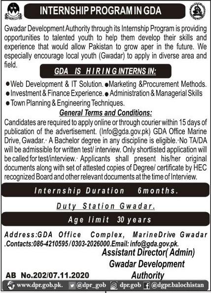 Gwadar Development Authority GDA Jobs 2020 For Internees