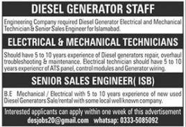 Diesel Generator Staff Jobs 2020 in Islamabad