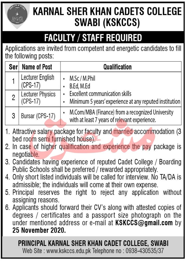 Karnal Sher Khan Cadets College Jobs 2020