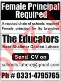 Female Principal Jobs 2020 in The Educators Lahore
