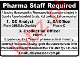 QC Analyst & Production Officer Jobs 2020 in Lahore