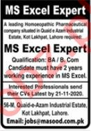 Dr Masood Homoeopathic Pharmaceutical Lahore Jobs 2020