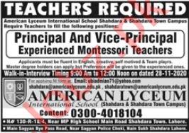American Lyceum Lahore Jobs 2020 for Principal & Teacher