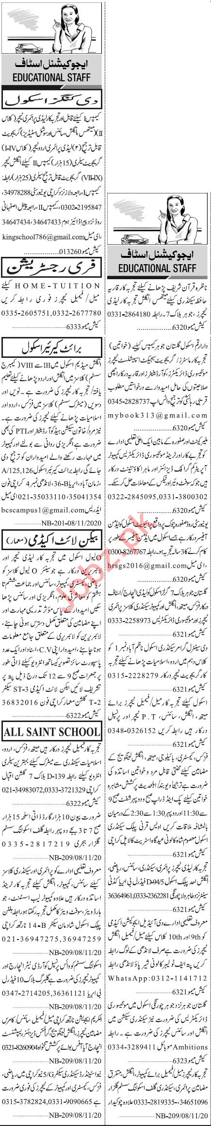 Jang Sunday Classified Ads 8th Nov 2020 for Teaching Staff
