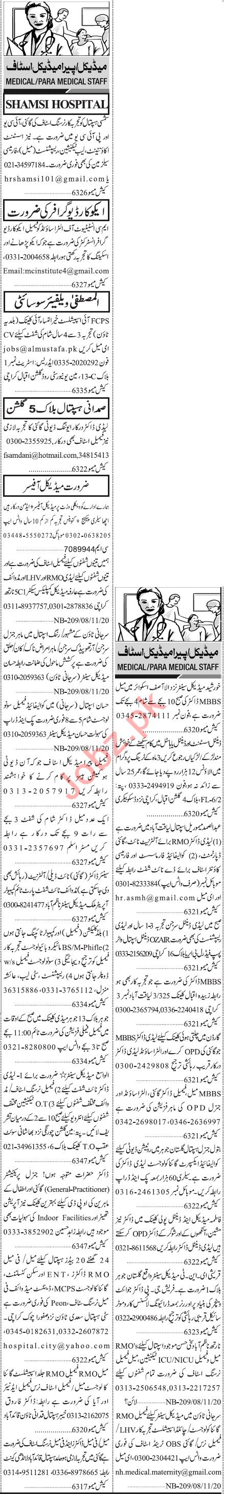 Jang Sunday Classified Ads 8th Nov 2020 for Medical Staff