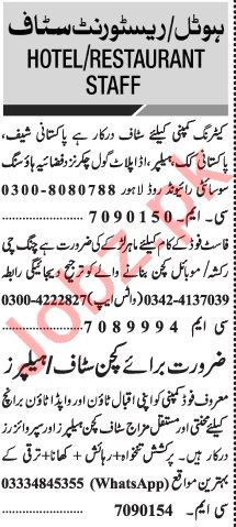 Jang Sunday Classified Ads 8th Nov 2020 for Restaurant Staff