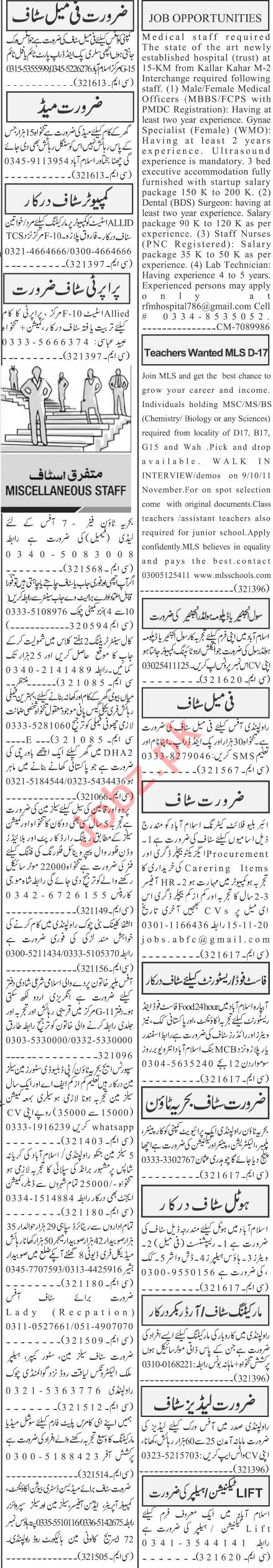 Jang Sunday Classified Ads 8th Nov 2020 for Office Staff