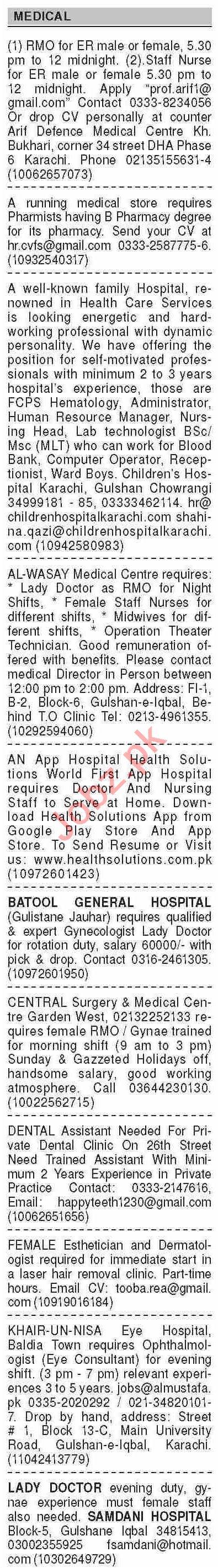 Dawn Sunday Classified Ads 8th Nov 2020 for Medical Staff