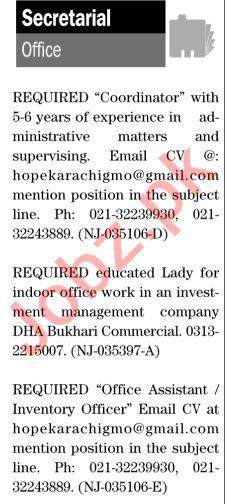 The News Sunday Classified Ads 8th Nov 2020 for Secretarial