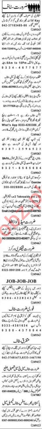 Nawaiwaqt Sunday Classified Ads 8th Nov 2020 Office Staff