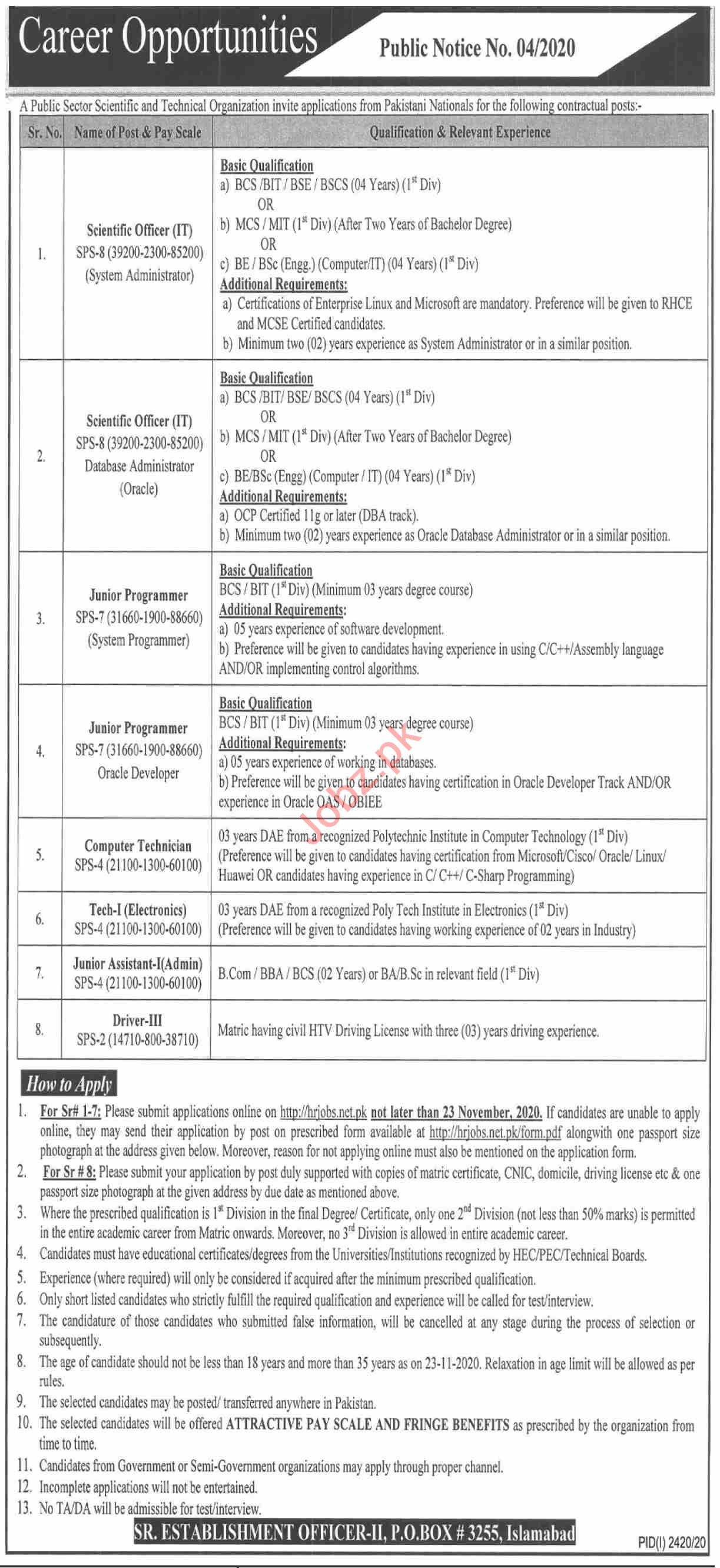 P O Box No 3255 Islamabad Jobs 2020 for Scientific Officer