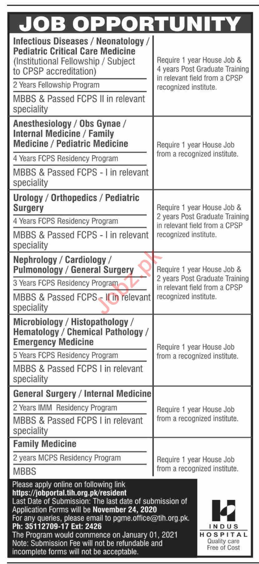 The Indus Hospital TIH Karachi Jobs 2021 Medical Specialist