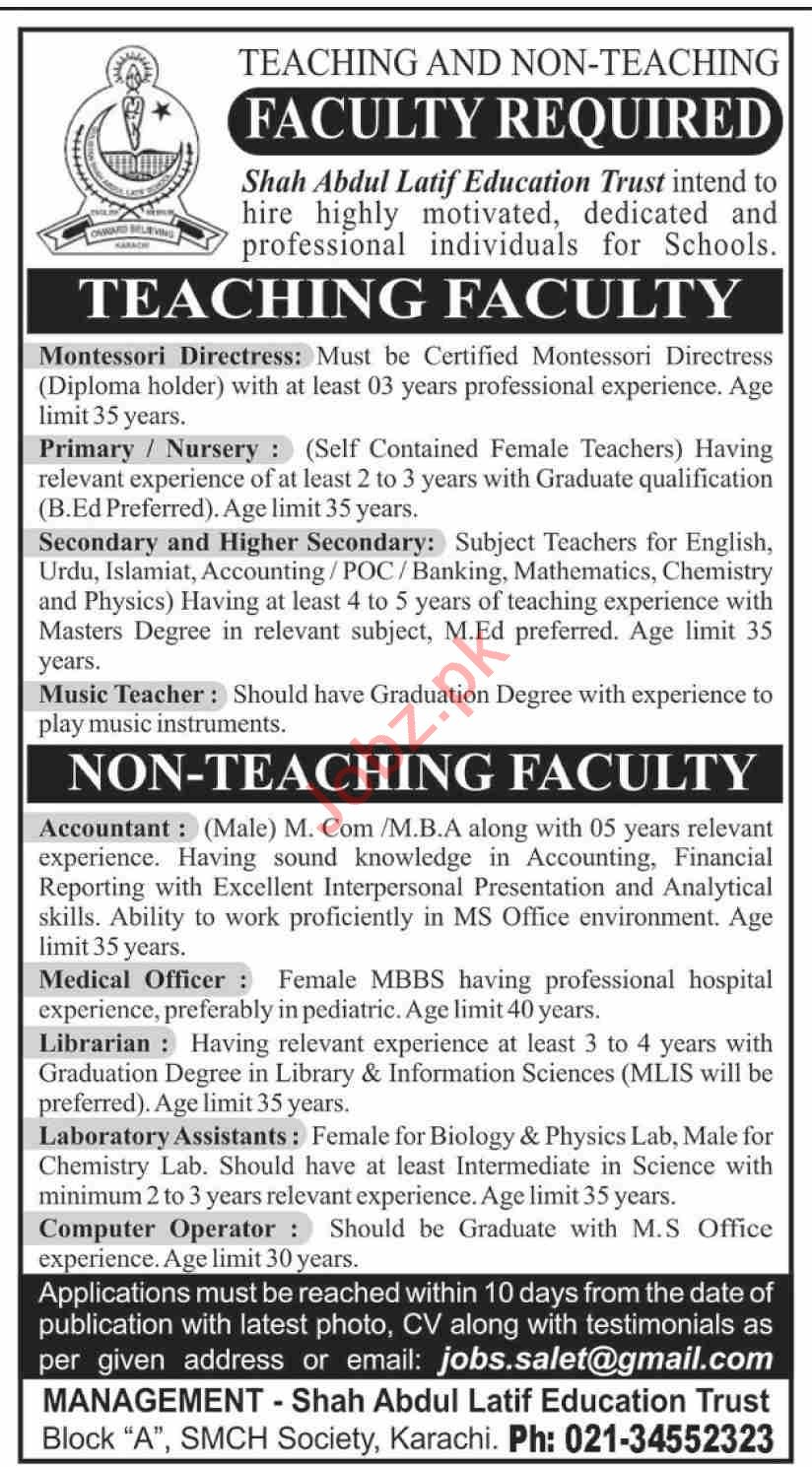 Shah Abdul Latif Education Trust Karachi Jobs 2020
