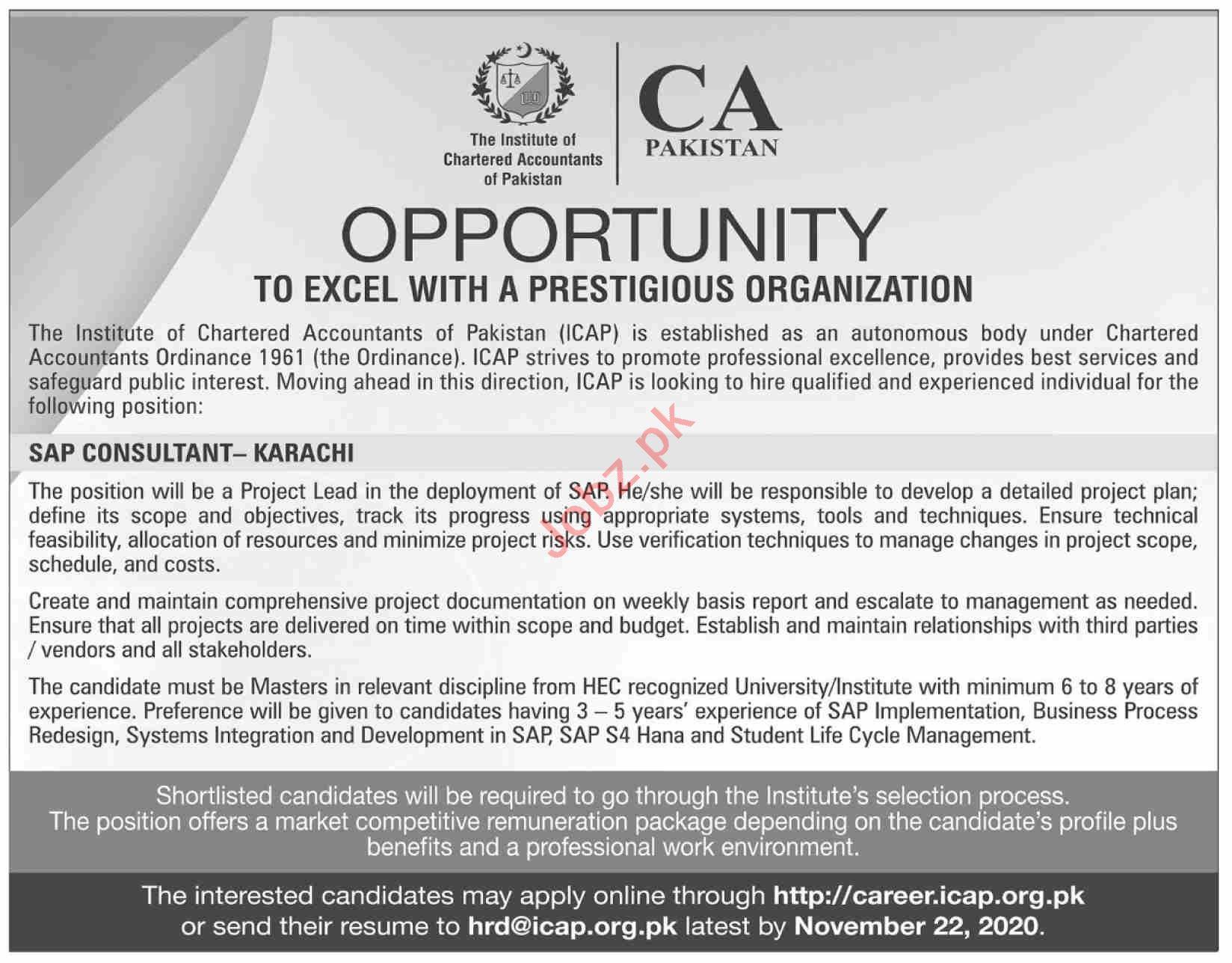 Institute of Chartered Accountants of Pakistan ICAP Jobs