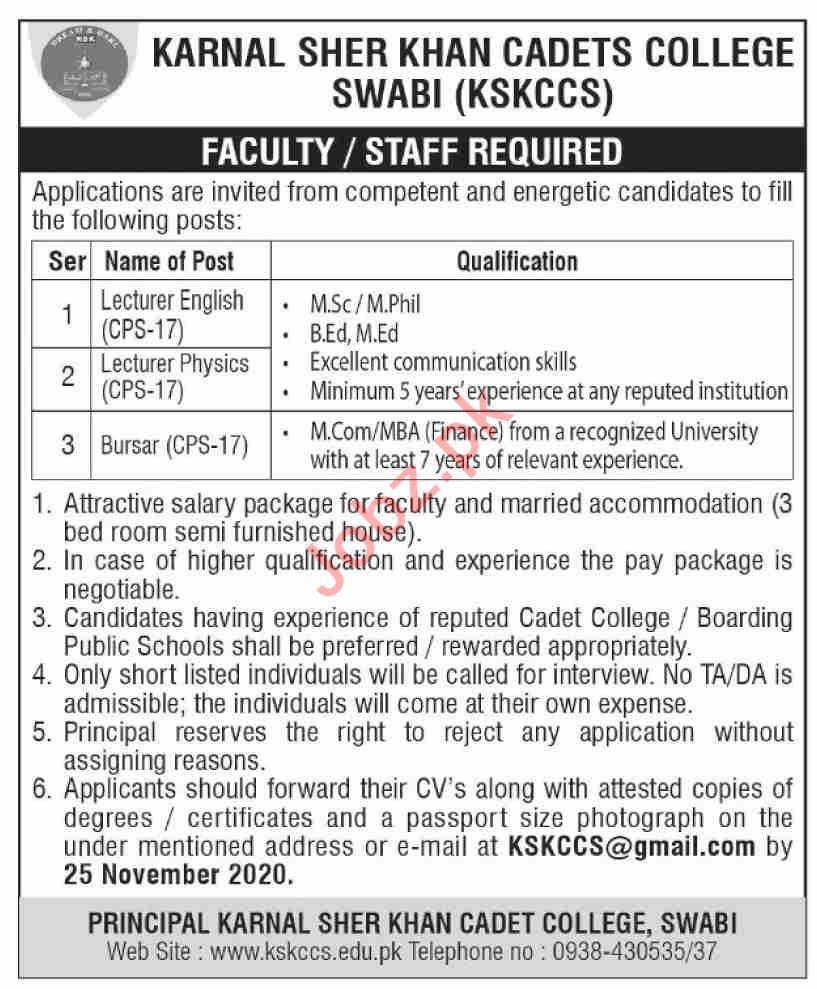 Karnal Sher khan Cadet College KSKCCS Swabi Jobs 2020