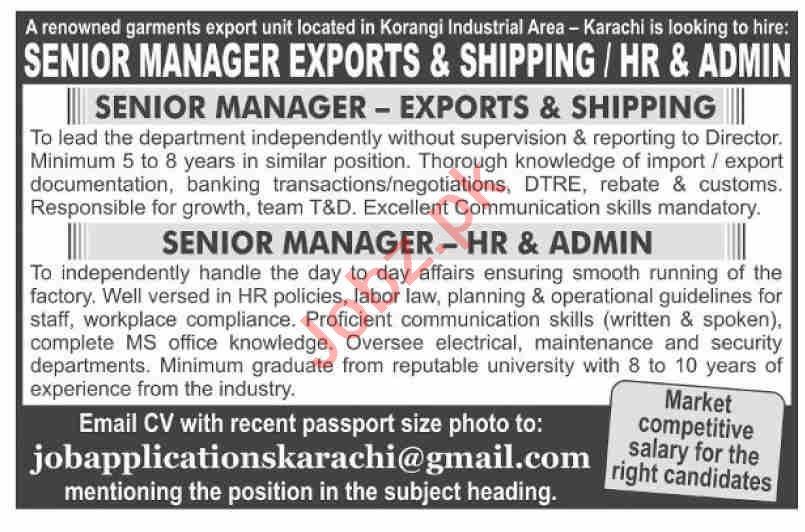 Senior Manager Exports & Senior Manager Admin Jobs 2020