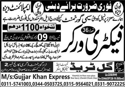 Factory Workers Jobs 2020 in Dubai UAE
