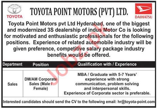Toyota Point Motors Hyderabad Jobs 2020
