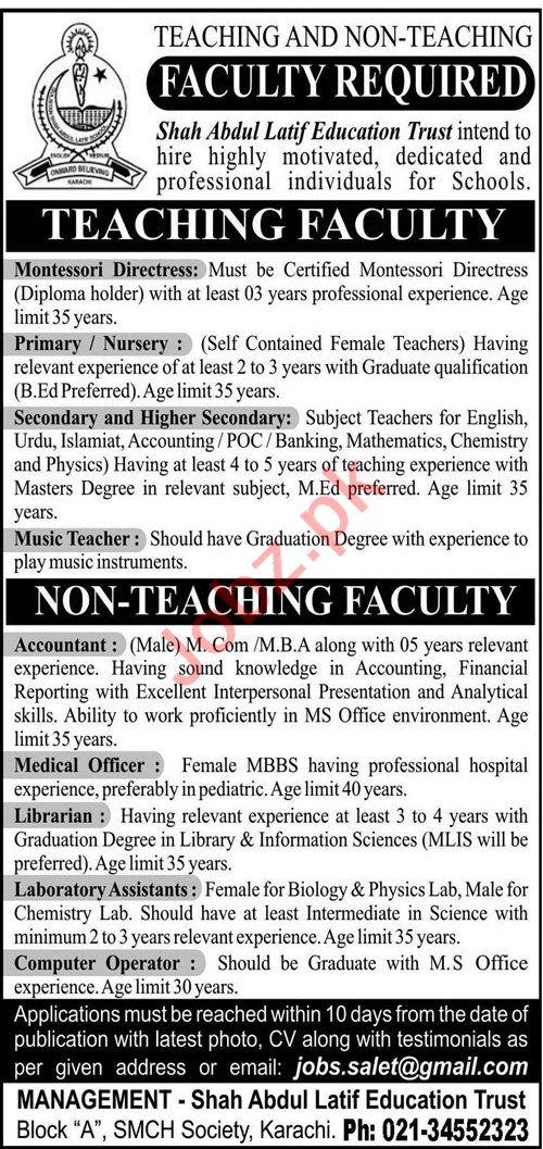 Shah Abdul Latif Education Trust Karachi Jobs for Teacher