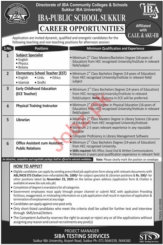 IBA Public School Sukkur Jobs 2020 for Teaching Staff