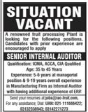 Senior Internal Auditor Job 2020 in Karachi