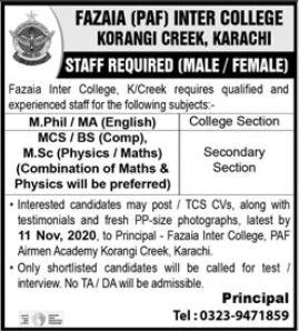 Fazaia PAF Inter College Korangi Creek Karachi Jobs 2020