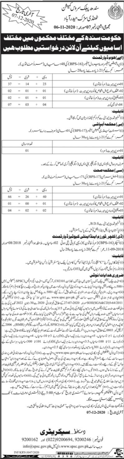 Sindh Public Service Commission SPSC Jobs 2020