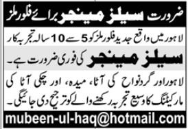 Sales Manager Job 2020 in Lahore