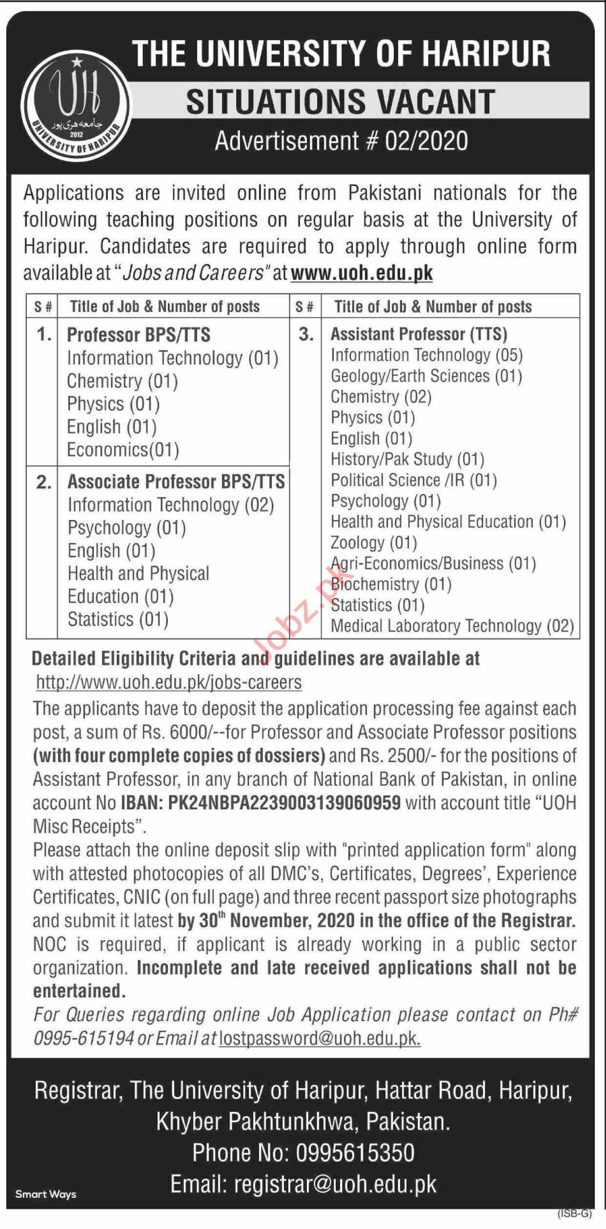 The University of Haripur UOH Jobs 2020 for Professors