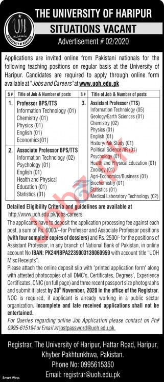 The University of Haripur Jobs 2020 for Educational Staff