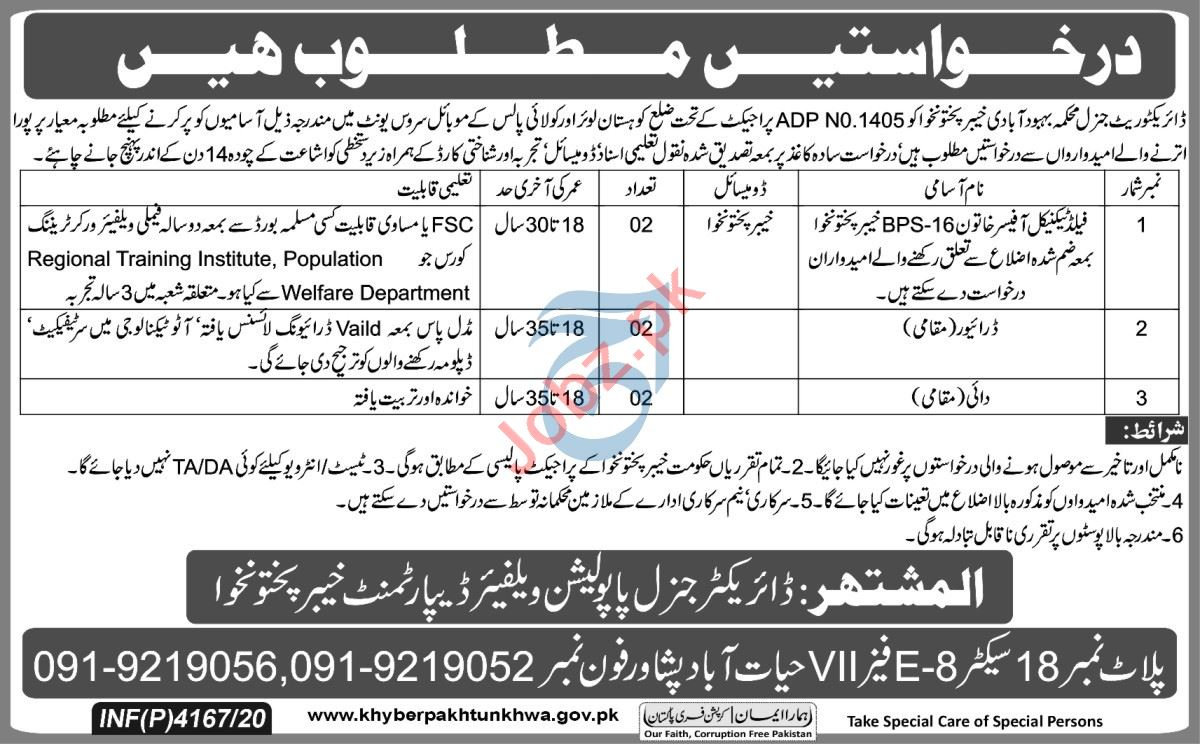 Population Welfare Department Kohistan Lower Jobs 2020