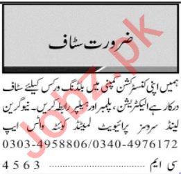 Electrician & Plumber Jobs 2020 in Multan