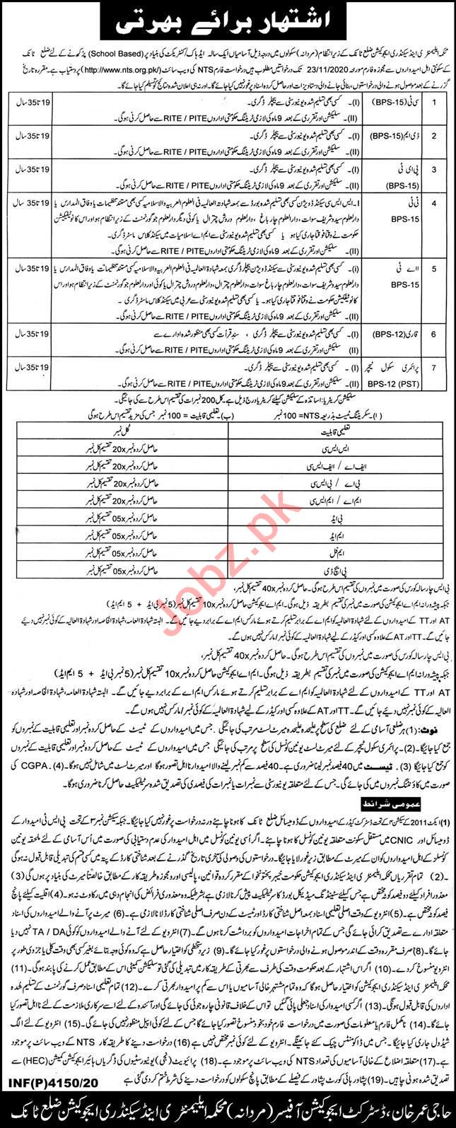 District Education Officer DEO Tank Jobs 2020 for Teachers